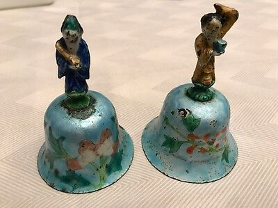 2 Antique Chinese Immortal Figure Enamel Over Silver Dinner Bells 19th Century