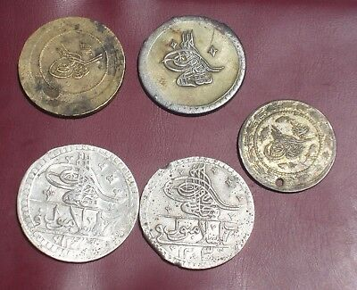 Turkey Lot Of 5 Silver Ottoman Coins With Zolota Offer