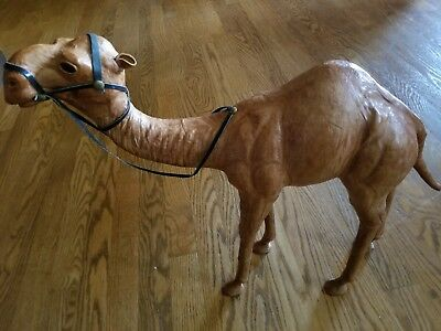 "Large 18"" Vintage Leather Camel Figurine Statue w/ Reins - Dromedary - India"