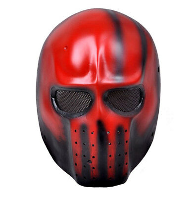 Red Full Face Wire Mesh Protection Airsoft Paintball Mask PROP Cosplay M614