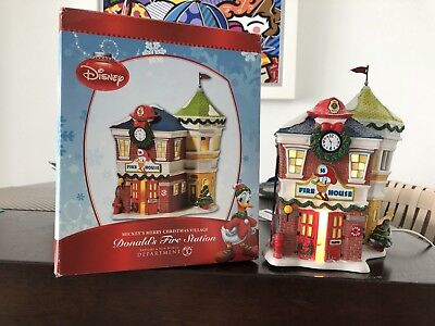 Dept 56 Mickey's Merry Christmas Village Donald's Fire Station Retired Disney