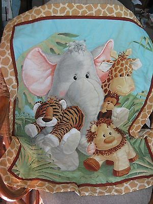 "Hand Quilted Animal Babies Crib Quilt, 28 1/2"" x 41"", Made in USA, Cotton"