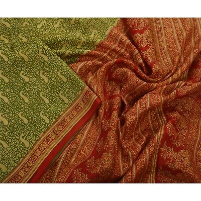 Sanskriti Antique Vintage Green Saree Pure Silk Printed Sari Craft 5 Yard Fabric