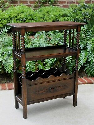Antique English Oak Jacobean Magazine Rack Bookcase Book Stand End Table