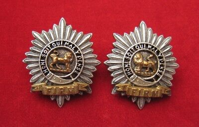 Worcestershire Regt pair of facing Officers Silver-Gilt Collar badges c1881-90