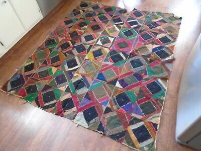 Antique Victorian Feather Stitched Crazy Quilt 1800's