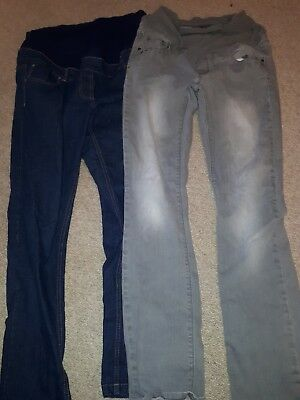 Over Bump Skinny Leg Maternity Jeans (size 12) Next Grey Evie Dark Blue bundle