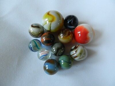 Lot of 12 Vintage Collectible Marbles Antique Handmade German 1800's Lot Jabo L2