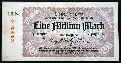 "MANNHEIM 1923 ""Badische Bank"" 1 Million Mark Inflation Notgeld Banknote Germany"