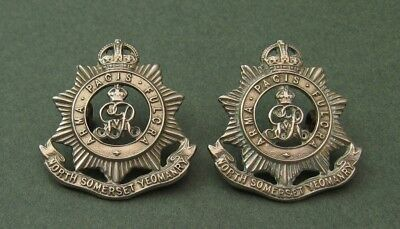 North Somerset Yeomanry pair of Kings Crown GRV cypher White Metal Collar Badges