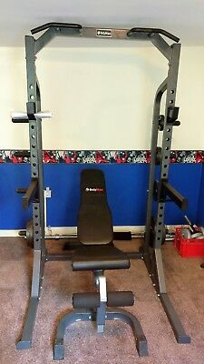 Bodymax Heavy Half Rack + F/i/d Bench + Olympic Barbell Kit& Bars - Hardly Used