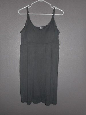 Bump In The Night Maternity Nursing Nightgown Adjustable Straps Sz XL Gray  NWT