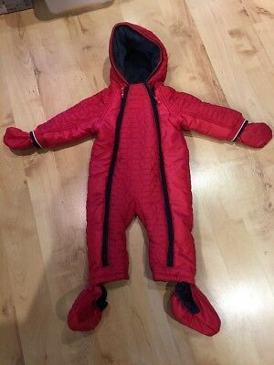 Baby Girls Boys Red Navy Mothercare Snowsuit Coat 9-12 Months Vgc