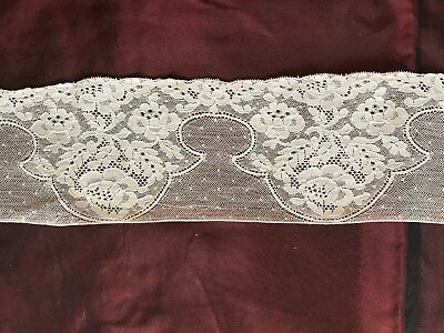 """ANTIQUE FRENCH LACE EDGNG FLORAL DESIGN 40"""" by 3 1/2"""""""