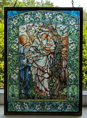 Madonna of the Flowers Religious Tiffany Reproduction Stained Glass Window Panel