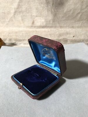 Antique Leather Brooch  Or Pin Box Display Case