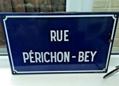 Vintage French Enamel Street Sign Rue Perichon Bey Road Location Limoges