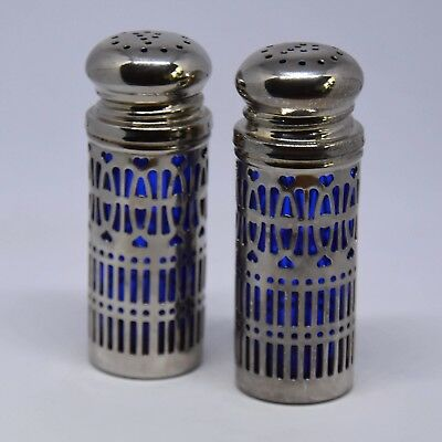 Decorative Silver Plated Salt & Pepper Pots With Cobalt Blue Glass Liners C 1960