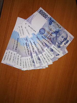 Lot of very nice Italy banknotes 10000, 5000, 1000 lire - UNC