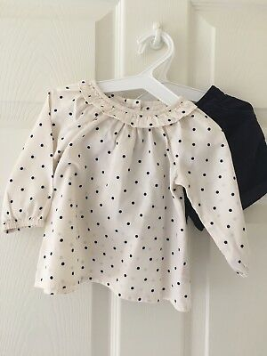 M&S Girls Blouse And Short Set Size 3-6 Months