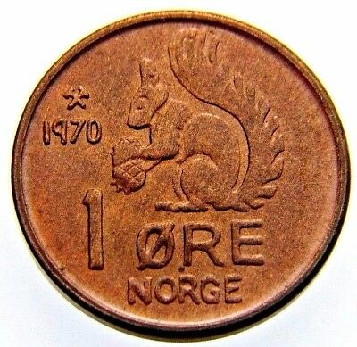 1970 Norway 1 Ore Squirrel Series Coin  (Wc0077)