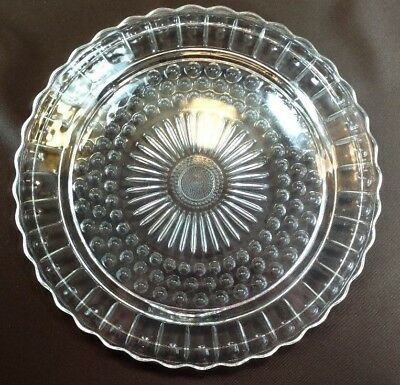 Beautiful Clear Cut Glass Footed Platter ~Scalloped Edge~ Starburst type center~