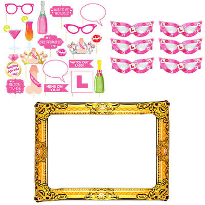 Hen Party Team Bride Photo Booth Picture Props Glasses Frame Girls Night Out