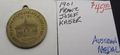 Austria 1901 Franz Josef Kaiser Medal! Really Nice Type Medal! Almost Unc! Look!