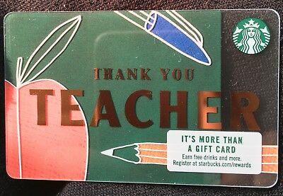 """#6152 New 2017 STARBUCKS """"THANK YOU TEACHER"""" WITH Apple Gift Card Pin Intact"""
