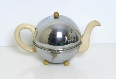 Vintage 1950's Ceramic Teapot With Felt Lined Metal Cosy Cover - part insulated