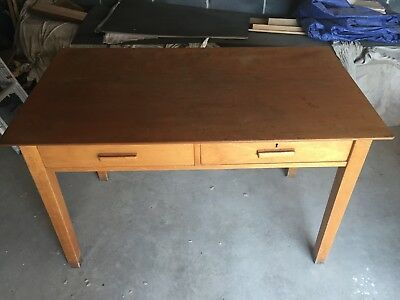 Small hardwood school or computer desk with 2 drawers