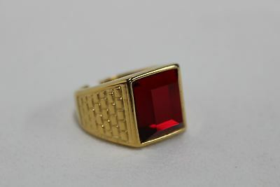 Large Size 13 Mens Stainless Steel Fashion Gold-Tone Ruby Red Ring Jewellery