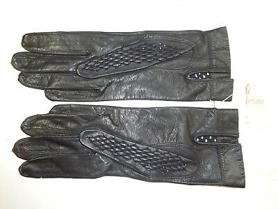 Vintage Short Black Woven Amadeo Perrone Kid Gloves Nwt