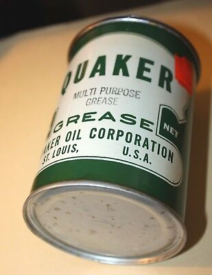 VINTAGE QUAKER MULTI-PURPOSE 1 lb.GREASE CAN! NOS, NEVER OPENED, NEAR MINT! NR!