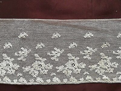"""Antique French LACE EDGING -floral design - Handmade 34 1/2"""" by 3 1/4"""""""