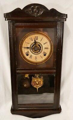 RARE ANTIQUE LATE 1800s ANSONIA WORKING ALARM CLOCK  WALL OR MANTEL OFFICE CLOCK