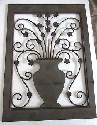 Rustic Wrought Iron Wood Wall Decor Frame Flower Pot Theme 17 x 24