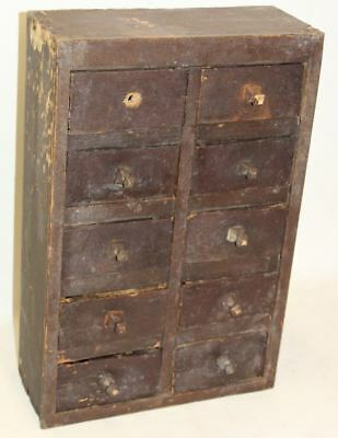Apothecary Haberdashery Wooden 19th Century Small Cabinet 10-Bank Of Drawers