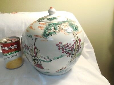 Antique Chinese Round Squat Jar Signed W/Lid  Lovely Pine Trees and People   N/R