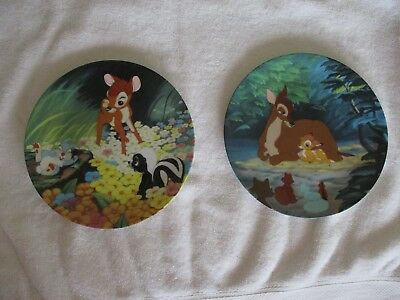 2 Walt Disney Bambi Collector Plates Knowles New Friends Hello Little Prince
