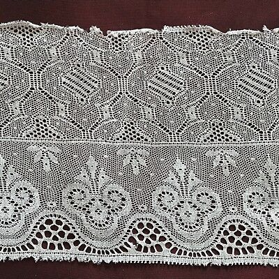 """1910's - 1920's 2 Beautiful ANTIQUE LACE EDGINGS 11 1/4"""" & 17"""" by 4 1/4"""""""