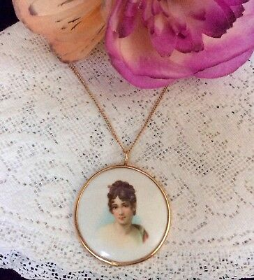 Queen Louise Of Prussia Hand Painted on Porcelain Portrait Pend/ Nklace 12K GF
