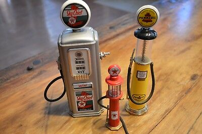 Lot Of 3 Vintage Gas Pump Advertising Mini Miniatures,sky Chief,pennzoil,texaco