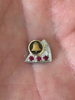 10k GOLD M.S.T. MOUNTAIN STATES BELL TELEPHONE COMPANY SERVICE PIN W/ 3 RUBIES
