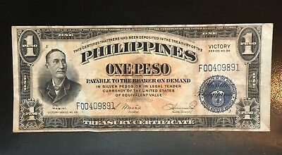 1944 US Philippines 1 One Peso Victory Series 66 In USA Free S/H