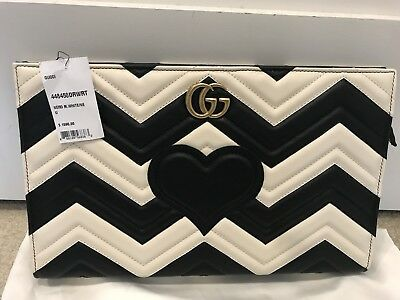 a8271d96bbf GUCCI MARMONT Black White Matelasse Leather Clutch NWT Retail  1590 ...
