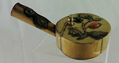 Vintage Chinese Silk Iron Pot Lidded Stone Or Glass Leaf Decorated China Signed