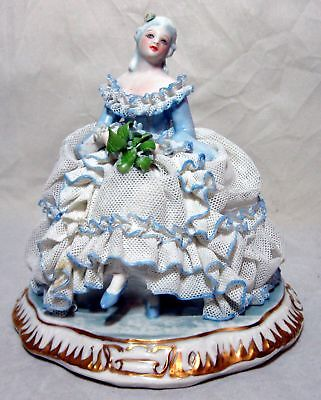 A Nice Blue And White Porcelain Lace Figurine Of A Seated Woman
