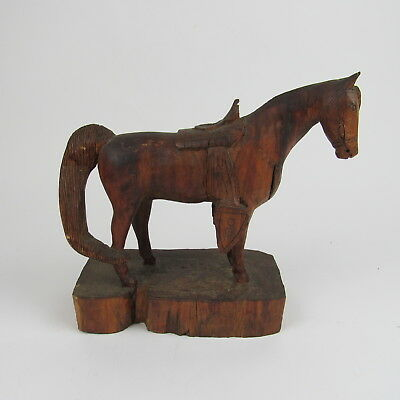 Vintage Hand Carved Wood Horse Figurine Wooden Statue Decor Antique Detailed