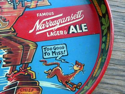 Vintage BEER Tray~Famous NARRAGANSETT~Lager & Ale~Dr. Suess~Cheif GANSET~Litho